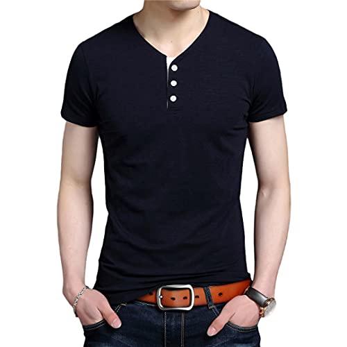 Verano Tops V cuello camiseta hombres algodón Spandex color sólido manga corta casual hombres ropa
