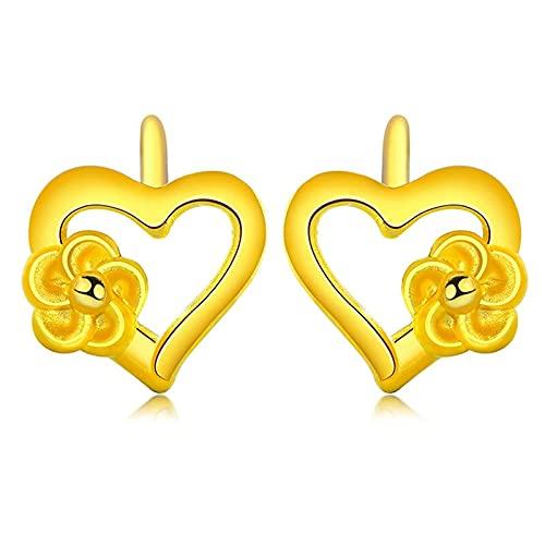 KINGVON KINGVON Pendientes en forma de corazón de oro amarillo Pendientes de gancho de flores de moda Pendientes de botón bohemio Regalo de joyería para mujeres Navidad, Acción de Gracias, Oro