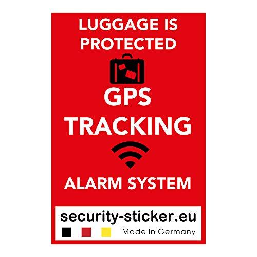 Pegatinas de alarma GPS para maleta (2 unidades, autoadhesivas, calidad prémium, 60 mm x 40 mm), color rojo