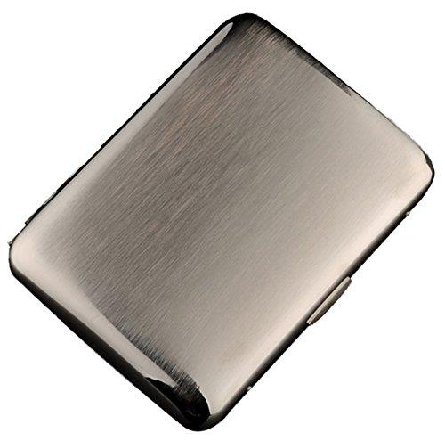 CaLeQi High-Grade Edelstahl Zigarettenetui, Vernickelung Drahtziehen, Silber Farbe, Hält 16 Zigaretten. (Mit Branded Geschenkbox)