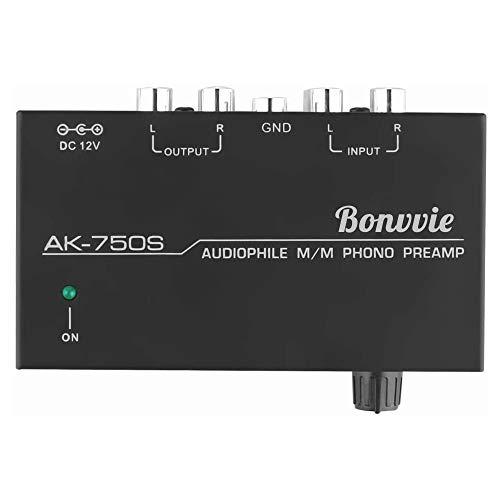 Bonvvie Preamplificatore Phono M/M, Amplificatore Audio Ultra Compatto per Giradischi, Giradischi in Vinile e Mixer DJ, File Audio di Interfaccia di Ingresso e Uscita Rca con Controllo di Livello