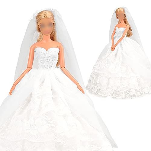 Miunana Hochzeitskleidung Abendkleid Kleidung mit Brautschleier für 11,5 Zoll Mädchen Puppen