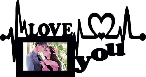 Love You - Marco de fotos cuadrado de madera para colgar en la pared, 10 x 15 cm, color negro, gris y blanco