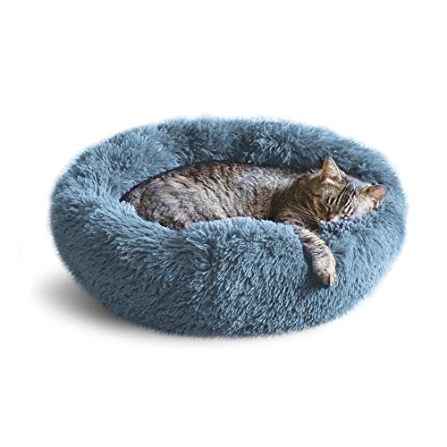 Whiskers & Friends Calming Cat Bed, Cat Bed for Indoor Cats, Calming Dog Bed for Small Dogs, Orthopedic Cat Bed, Donut Cat Bed, Dog beds for Small Dogs, Up to 25lbs, Washable (Navy-Gray)