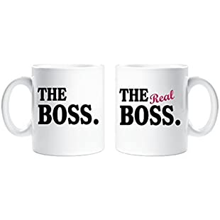 The Boss The Real Boss Couples Mug Set Parents Present Husband Wife Boyfriend Girlfriend Valentines Gift Christmas Anniv