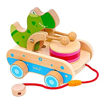 Wooden Toys for 1 Year Old Boys  Crocodile Beating Drum Baby Pull Toys Hand Push Car Pull Toys for 1 2 3 Year Old Toddlers Boys Girls