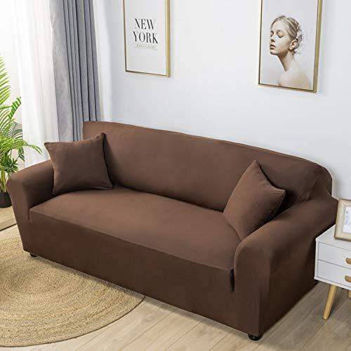 Xin Hai Yuan Fundas elásticas de licra de color sólido, fundas elásticas para sofá, toallas, esquinas, para sala de estar, color marrón, 3 plazas