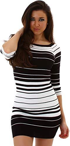 Jela London Damen Feinstrick Strickkleid Stretch-Kleid Pulloverkleid Streifen Minikleid Longpullover 3/4-Arm, Schwarz Weiß 34 36 38