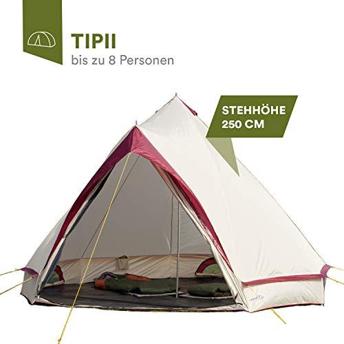 skandika Comanche Tipi Wigwam Zelt mit 250 cm Stehhöhe für bis zu 8 Personen