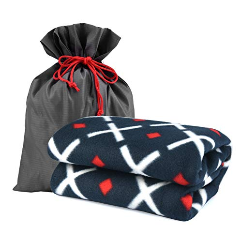 """forestfish Fleece Throw Blanket Cozy Soft Portable Travel Blanket Compact for Long Car Airplane Train Rides 60"""" x 40"""", Navy"""