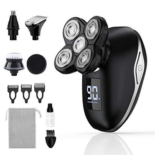 Rasierer Herren Elektrisch, 5 IN 1 Rotationsrasierer körperrasierer, Nass & Trockenrasierer Rasierer, Glatzen Rasierer, Bartschneider, Präzisionstrimmer, mit LED-Display und USB Wiederaufladbar
