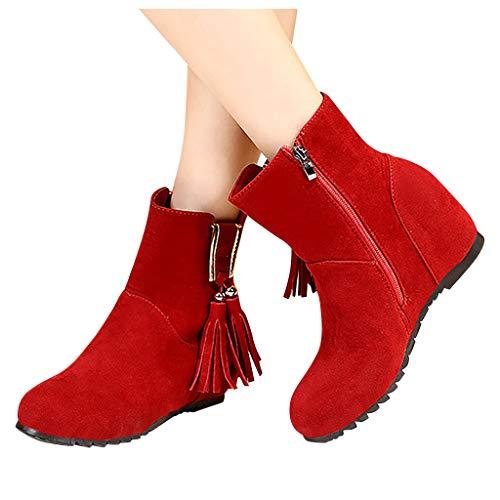 Stiefeletten Damen Ankle Boots mit Keilabsatz, Wildleder Fransen Stiefel Frauen Winterstiefel Bequem Elegant Westernstiefel Herbst Winter Damenschuhe Celucke (Rot, 40 EU)