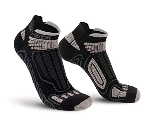Oxyburn Running Low-Cut Dry-Tech Carbon XL Chaussettes Homme, Black/Silver, Size 45/47