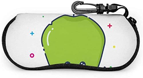 MODORSAN Green Fresh Juicy Cartoon Apple Cheap Sunglass Pouch Estuche para gafas de sol único Estuche ligero portátil con cremallera de neopreno Estuche blando para gafas de sol para hombres