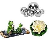 Super Idee Garten Teiche Deko Set Schwimmtier Zwei Frösche mit Silber Kugeln und 2 STK Lotusblüte als Gartendekoration für Miniteich Springbrunnen Teichbecken (Frösche auf Bambusfloß)