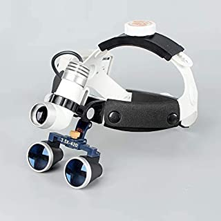 Magnifying Glass, 3.5x420mm Dental Head-Mounted Magnifying Glass, Led Surgical High-Resolution Dental Binocular Magnifying...
