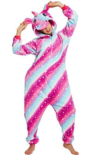 Einhorn-Einteiler für Erwachsene, Frauen und Männer, Tier-Pyjama, für Cosplay, Weihnachten, Halloweenkostüm Gr. Small(Höhe:4'9