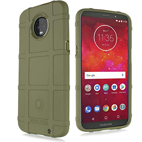 Compatible for Moto Z3 Play Case, Moto Z3 Case, with [Tempered Glass Screen Protector] Tactical Armor Rugged Shield Cover [Anti-Fingerprint, Textured] (Olive)