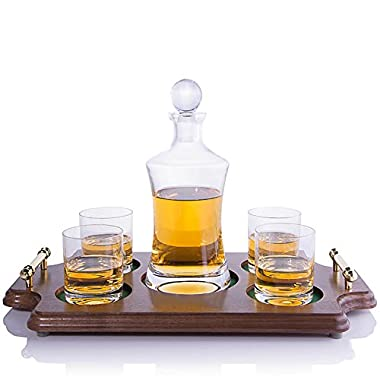 Waterford Vintage Hourglass Whiskey Decanter Rocks Wood Tray Set by Crystalize (Rocks Wood Tray Set)