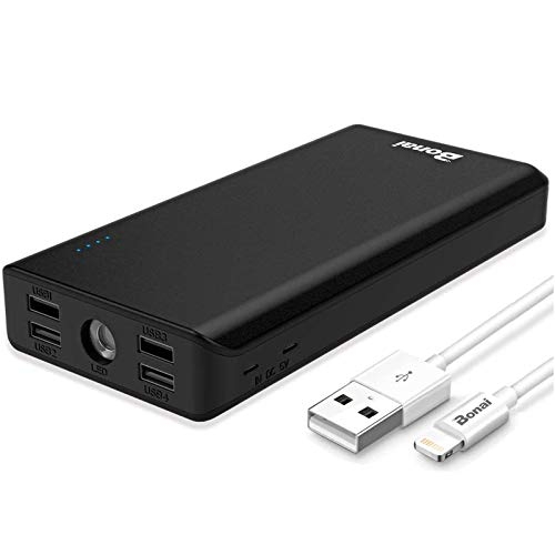 BONAI Portable Charger 30000mAh, (Huge Capacity)(Flashlight)(Outdoor) 5.6A Output External Battery Pack, 4A Input High-Speed Charging Technology, Power Bank Compatible with iPhone iPad Samsung-Black
