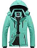 GEMYSE Chaqueta de Esquí Impermeable de Montaña para Mujer Abrigo de Invierno de Lana Antiviento con Capucha (Azul ácido Claro,XL)