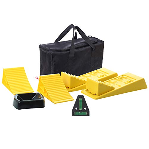 Homeon Wheels Large RV Leveling Blocks 2 Pack and Two Locking Chocks, Two Camper Leveling Blocks Wheel Chocks with Handle and Rope One Trailer Jack Wheel Dock One T Level with Carrying Bag Value Pack