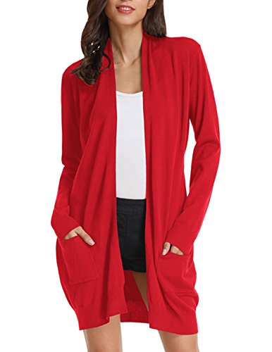 Long Open Front Lightweight Cardigan Sweaters Regular Plus Size (2XL,Red)