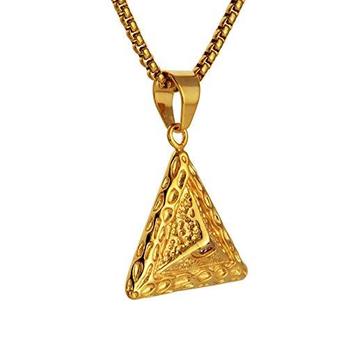 MKHDD Uomini Hip Hop Triangolo Occhio di Horus Ciondolo egizio Piramide egizia Scolpisci Sole Dio Simbolo Rune Fascino dell'occhio Colore Dorato Collane Regalo Gioielli
