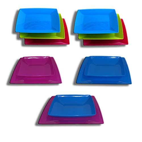 Set 12 piatti in plastica lavabili in lavastoviglie Colori vivaci brillanti Campeggio, BBQ, Festa, Design moderno-6 piatti piani + 6piatti fondi