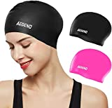 aegend Silicone Long Hair Swim Cap [2 Pack] for Adult Women, Durable and Comfortable Fit Swimming Cap with Spacious Space for Long Hair & Thick Hair & Curly Hair, One Size