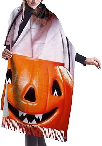Halloween Hund Geisterlaterne Spinnennetze Weicher Kaschmir Schal Wrap Schal Lange Schal für Frauen Büro Party Reise 68 x 196 cm