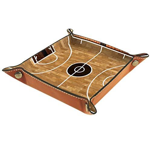 Bandeja de Cuero - Organizador - Cancha de baloncesto (3) - Práctica Caja de Almacenamiento para Carteras,Relojes,llaves,Monedas,Teléfonos Celulares y Equipos de Oficina