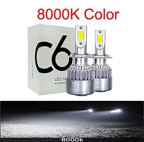 Faros Auto Car H8 H11 H7 H4 H1 LED Faros LED 6000K Fresco Blanco 72W 8000LM Bombillas de COB Diodos Automóviles Lámpara de piezas xenón ( Emitting Color : 8000K , Lumens : 8000Lm )