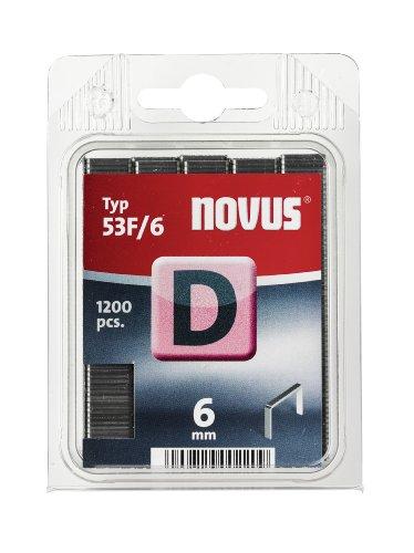 Novus Flachdrahtklammern 6 mm, 1200 Tacker-Klammern vom Typ 53 F/6 , optimales Heftmittel für Folien, Etiketten, Papier