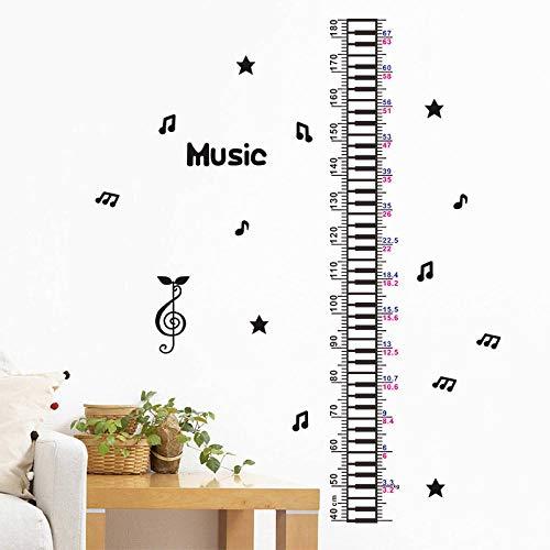 WSMSP 3D DIY PVC muur Stickers Creatieve muziek Piano Star Baby Kinderen Hoogte Meet Kids kamer Kwekerij Decoratie Home Deur Decor Groeidiagram