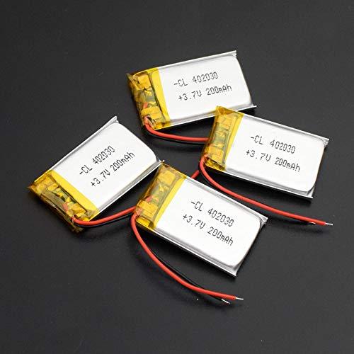 CNMMGL Batería Recargable De PolíMero De Litio De 3.7v 200mah 402030, para ElectróGrafo PortáTil Bluetooth GPS Mp3 Mp4 4pcs