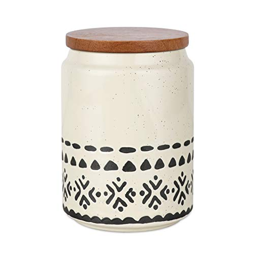 Kopmath Ceramic Coffee Canisters, 29 FL OZ (850 ml), Super Airtight Wooden Lid, Starry-Sky Bohemian Style, Sturdy for Dishwasher, Kitchen Food Storage Jar for Coffee Bean Sugar Tea Spices Nut Set of 1