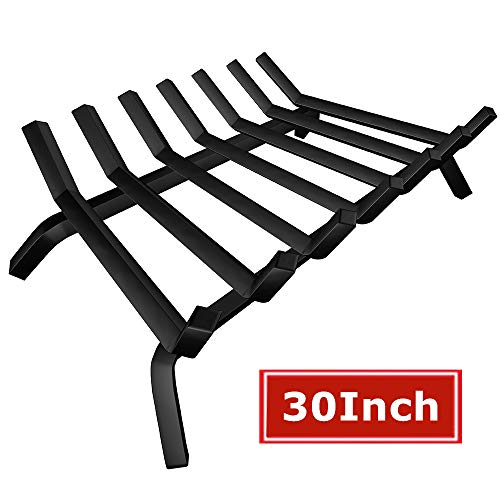 Amagabeli Black Wrought Iron Fireplace Log Grate 30 inch Wide Heavy Duty Solid Steel Indoor Chimney Hearth 3/4' Bar Fire Grates for Outdoor Kindling Tools Pit Wood Stove Firewood Burning Rack Holder