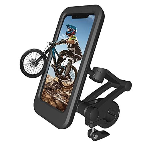 ANLILUCK Wasserdichter Fahrrad Handyhalter,360° Drehbarer Motorrad Handyhalter,Face ID und Touch ID Touchscreen Smartphone Halter,Passend für 4,5-6,7 Zoll Handys,Schwarz, L