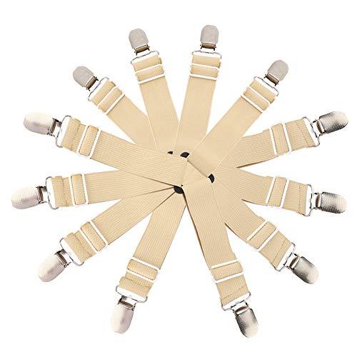 Raguso Soporte de Hoja Carpa Clip de fijación de Metal Mantel Ajustable de Alta Elasticidad Hebilla de Cortina con Alta Elasticidad para sábanas Colchones Manteles(Caqui)