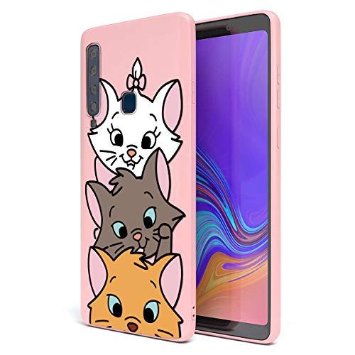 ZhuoFan Cover Samsung Galaxy A9 2018, Custodia Cover Silicone Rosa con Disegni Ultra Slim TPU Morbido Antiurto 3D Cartoon Bumper Case Protettiva per Samsung Galaxy A9 2018, 3 Cat