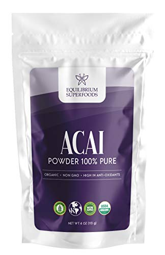 Organic Acai Powder 100% Pure | 4 oz Pouch | No additives I Non GMO | Raw Oxidants by Equilibrium Superfoods