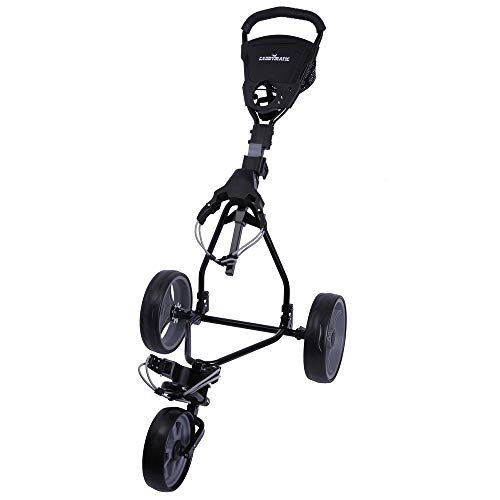 Caddymatic Junior Golf Cart - 3 Wheel Folding Cart for Kids- Black/Grey