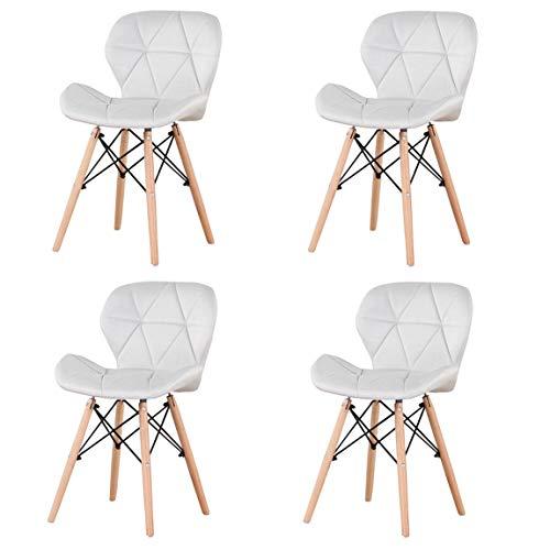 Silla de respaldo nórdico de madera maciza perezosa casa silla de escritorio silla de comedor, silla de tela PU/terciopelo/arpillera (White-mb, 4)