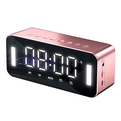 WANGIRL Digital Reloj de Alarma Despertador con Espejo Digital con Bocina Bluetooth Pantalla LED de Temperatura Luz de Noche Brillo Ajustable con Función Snooze Funciones para Niños Adultos Cabecera