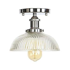 Ganeep American Loft Industrial Decor LED Lámpara de techo para sala de estar Raya Olla Tapa Vidrio Edison Vintage Lámparas de techo Plafon Lamparas De Techo (Color : Chrome)