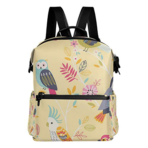 TIZORAX Dessin animé Hibou Bird Parrot Toucan Sac à Dos d'école College Sacs Sac à Dos Bookbags pour Teen garçons Filles