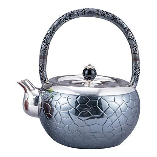 SHENLIJUAN Ceremonia de té de Plateado de Plata esterlina Pura Gris de Plata Pura Tetera de Plata