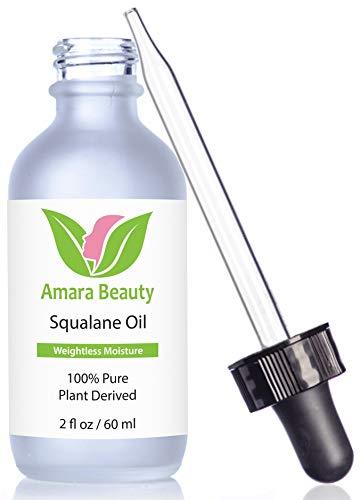 Amara Beauty Squalane Huile hydratante à base de plantes 100 % pure pour le visage, le corps et les cheveux 60 ml oz