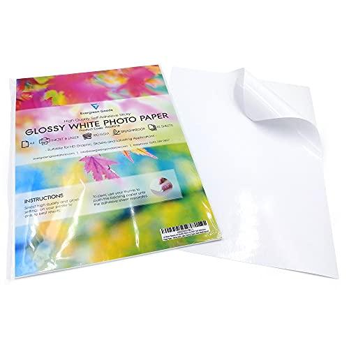 Evergreen Goods Ltd 50 Blatt A4 weiß Premium glänzend selbstklebend/klebende Rückseite Etikett Bildauflösung Druckpapier Blatt